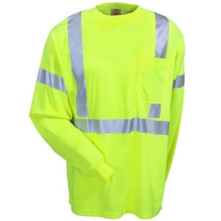 Red Kap Shirts: ANSI High Visibility Class 2 Long Sleeve Tee Shirt SYK2HV
