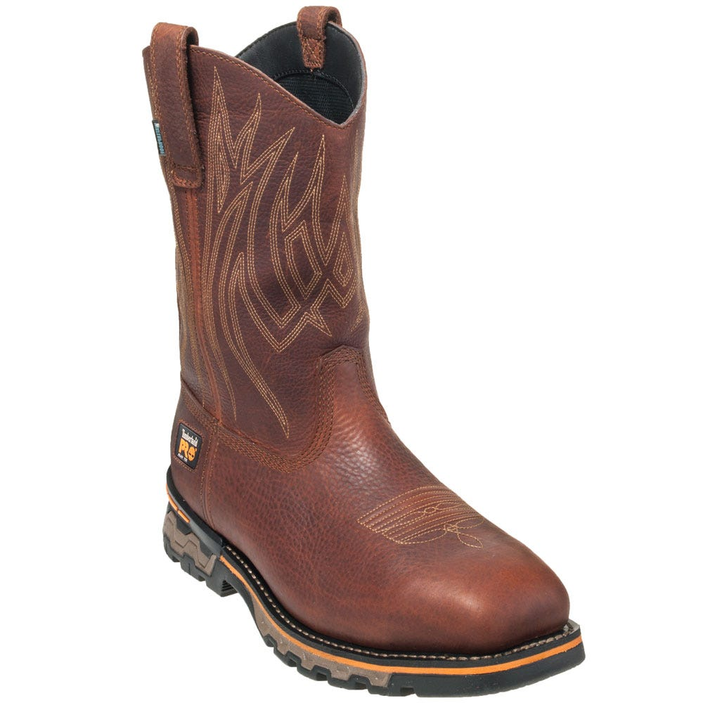 Timberland PRO Boots: Men's Safety Toe TB091636 214 Brown Ag Boss Pull On Boots