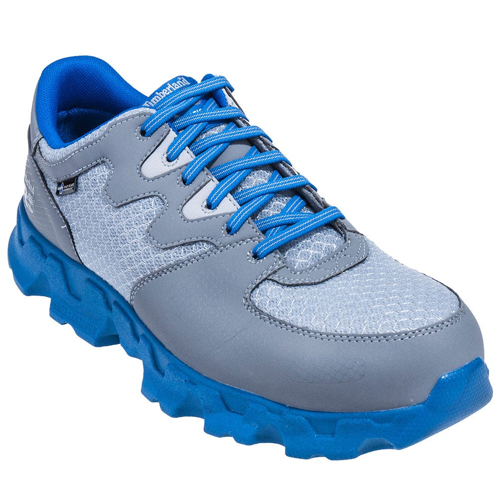 Timberland PRO Shoes: Men's 92652 Grey and Blue Powertrain EH Alloy Toe Shoes