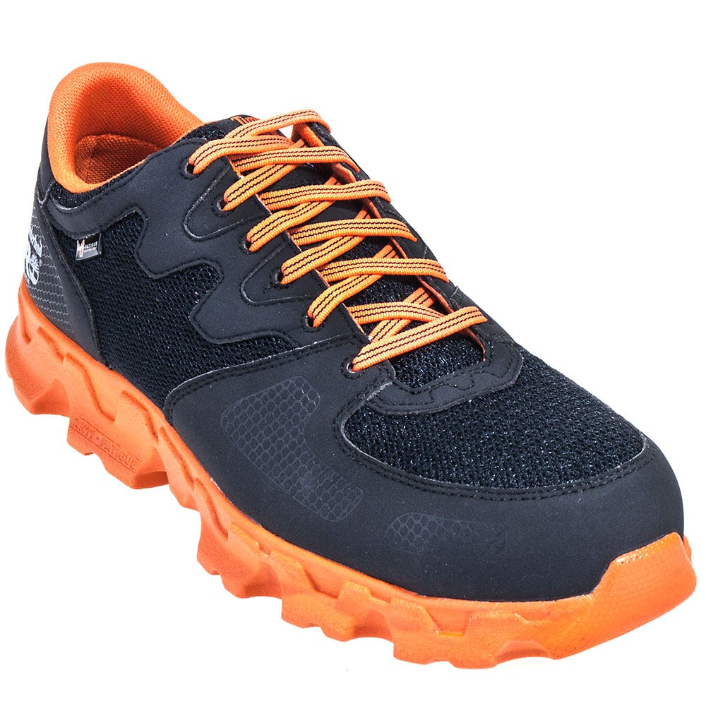 Timberland PRO Shoes: Men's 92659 Orange and Black Powertrain EH Alloy Toe Shoes
