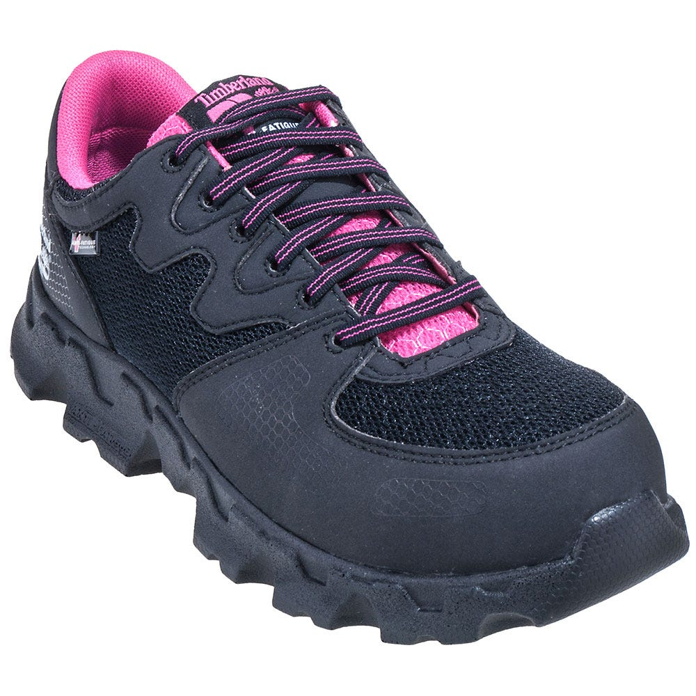 Timberland PRO Shoes: Women's Black/Pink 92669 Powertrain ESD Alloy Toe Shoes