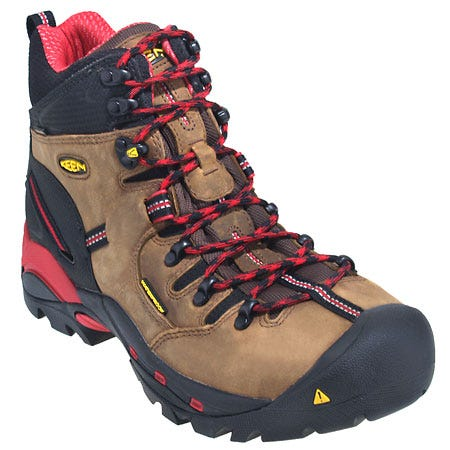 Keen Boots: Men's Steel Toe 1007024 Red Waterproof Pittsburgh Work Boots