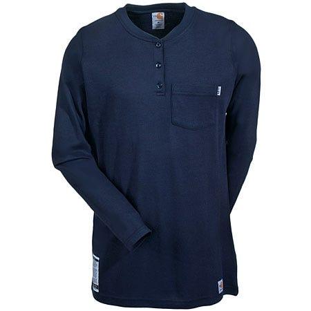 Carhartt Shirts: Women's Navy WFRK293 DNY FR Henley Work Shirt Sale $69.00 Item#94503 :
