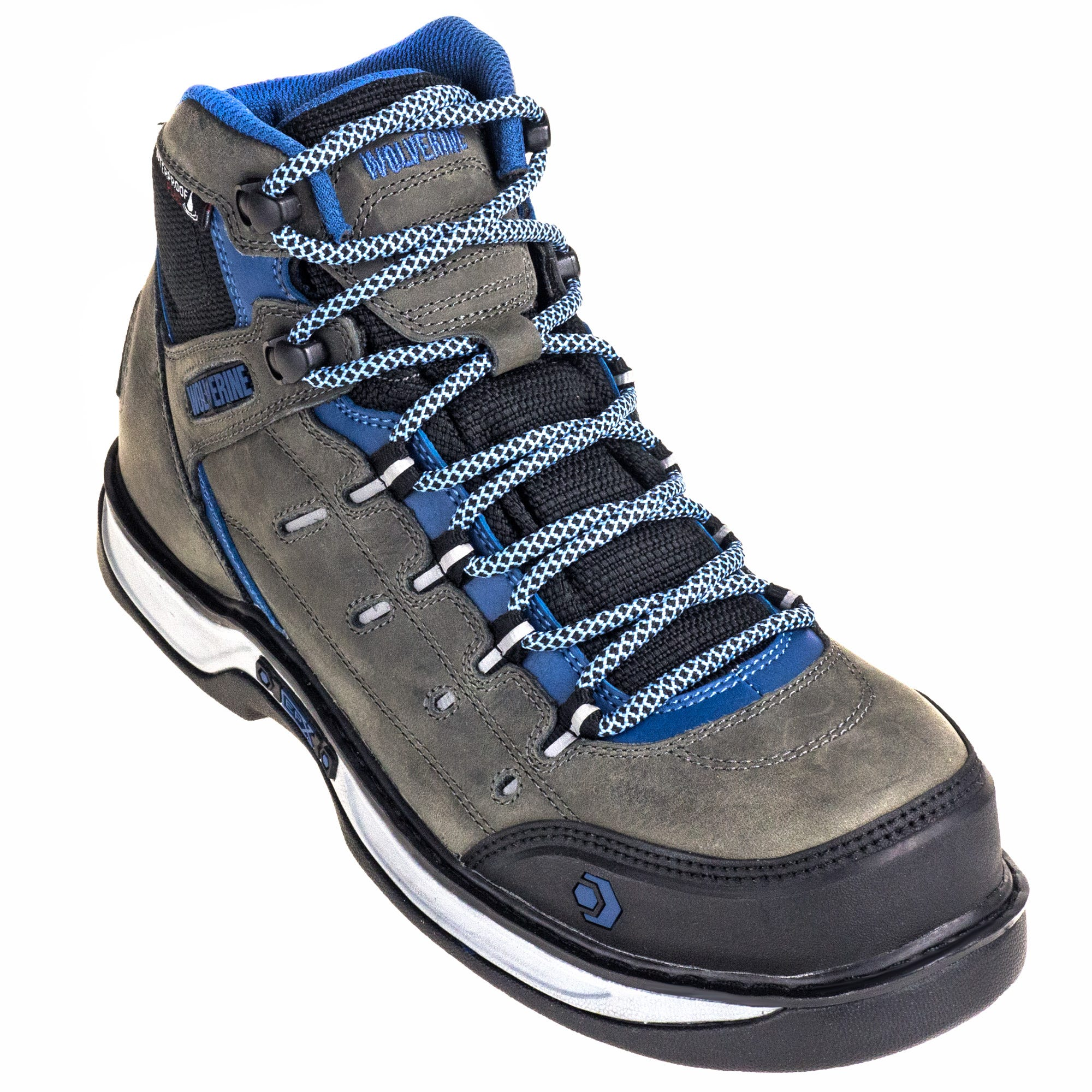 Wolverine Women's 10664 Waterproof CarbonMAX EH Grey/Blue Edge LX Hiker Boots