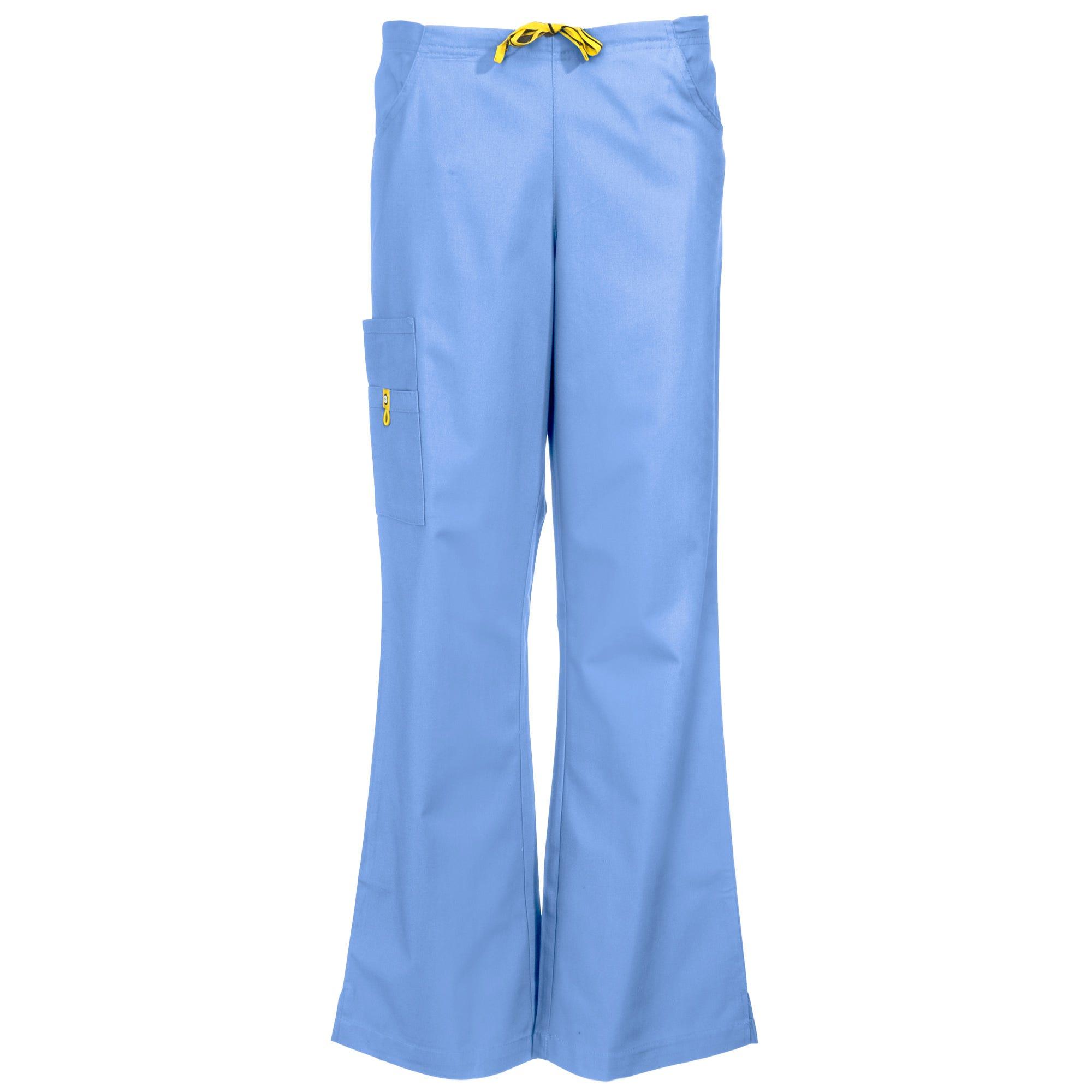 Wonderwink Women's 5026 CBL Ceil Blue Romeo Flare Leg Scrub Bottoms