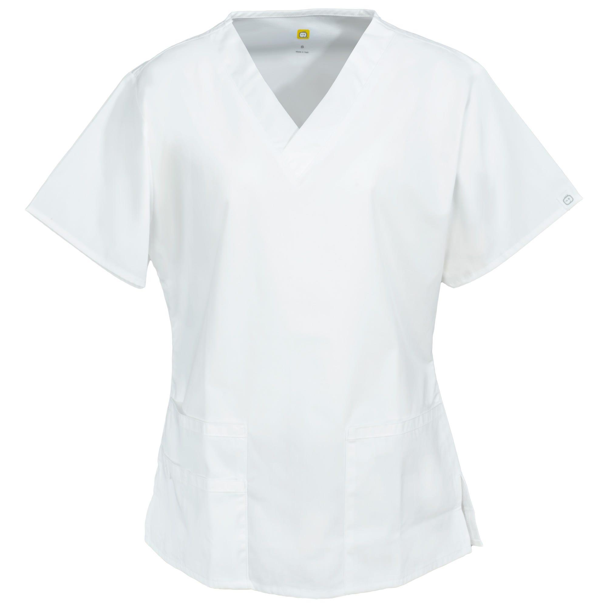 WonderWink Women's 6016 WHT White Bravo V-Neck Cotton/Poly Scrub Top