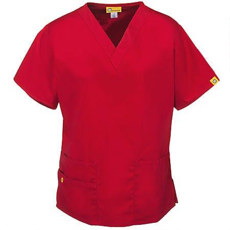 WonderWink Women's Red Bravo V-Neck Cotton Blend Scrub Top 6016 RED