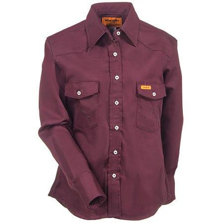 Wrangler Women's Burgundy FRLW04 R Flame Resistant Western Shirt