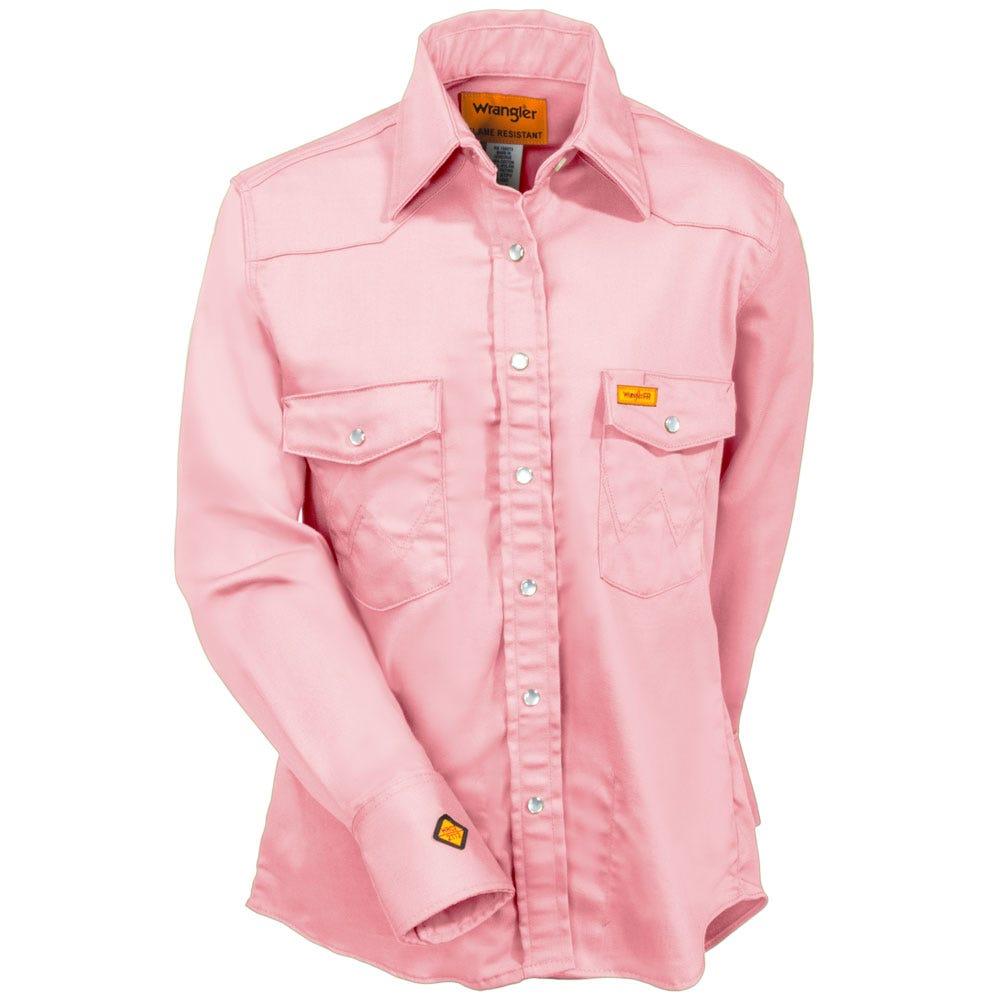 Wrangler Women's Pink FRLW05K Flame-Resistant Western Work Shirt