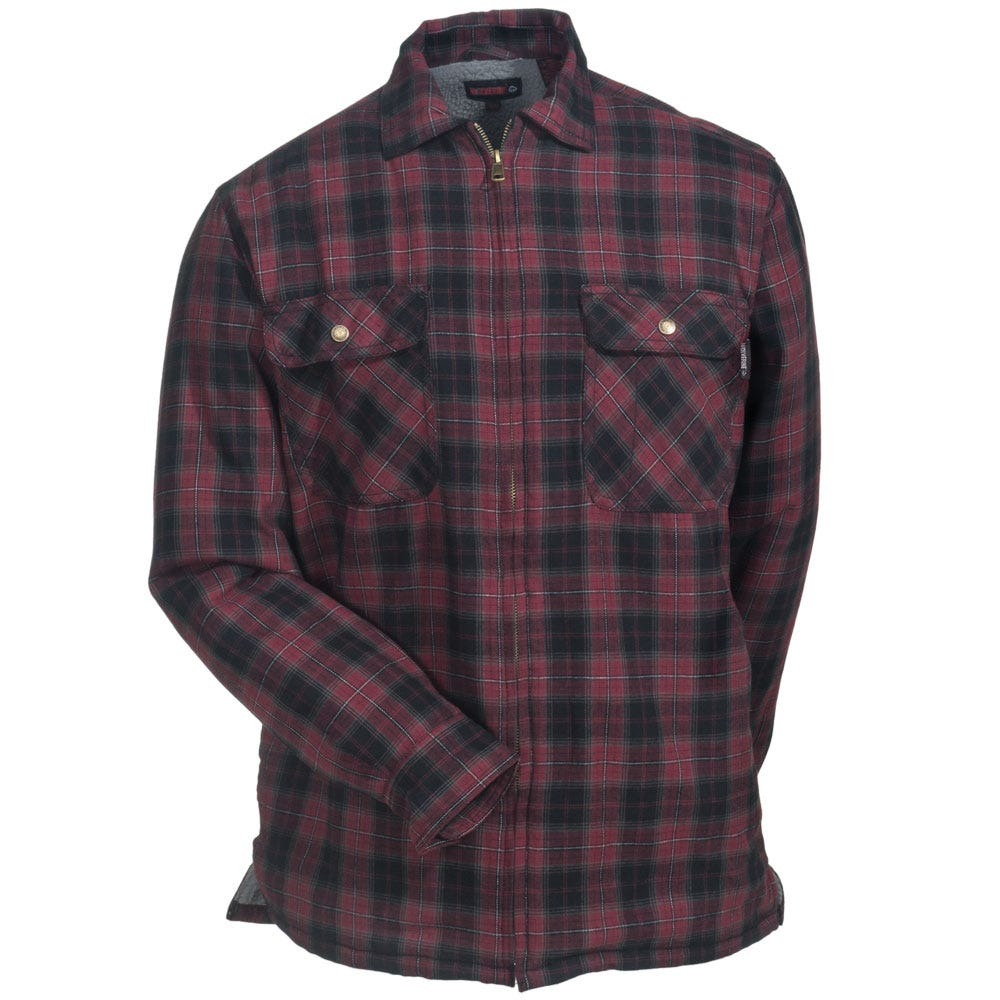 Wolverine shirts men 39 s w1202200 611 red plaid cotton for Flannel shirt and vest